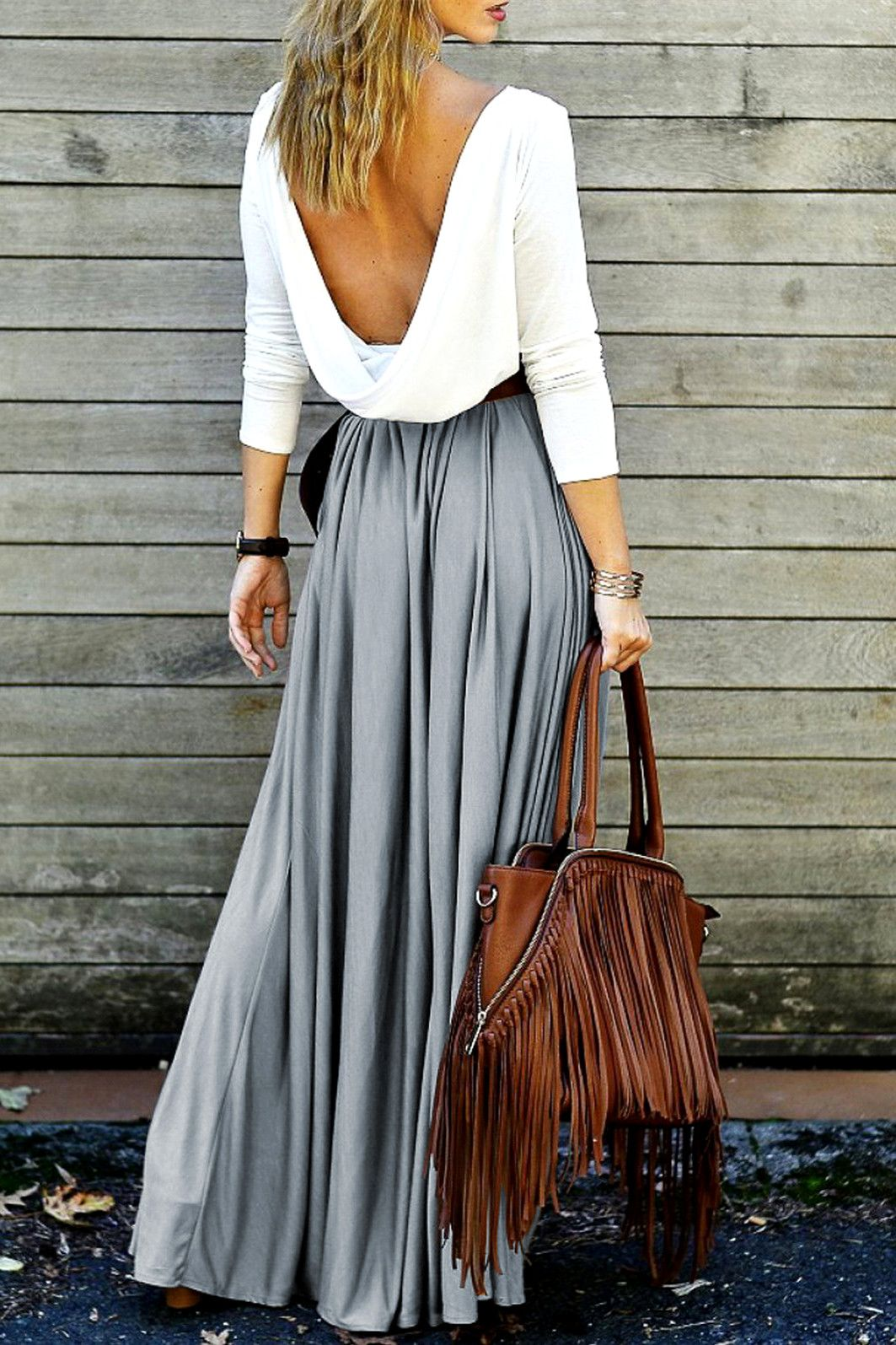 long sleeve maxi draped open back dress pretty threads