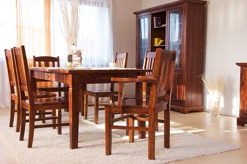 Essgruppe 180cm Siena Esstisch 6 Stuhle Akazie Massiv Braun Gebeizt Lackiert Esstisch Esstisch Stuhle Stuhle