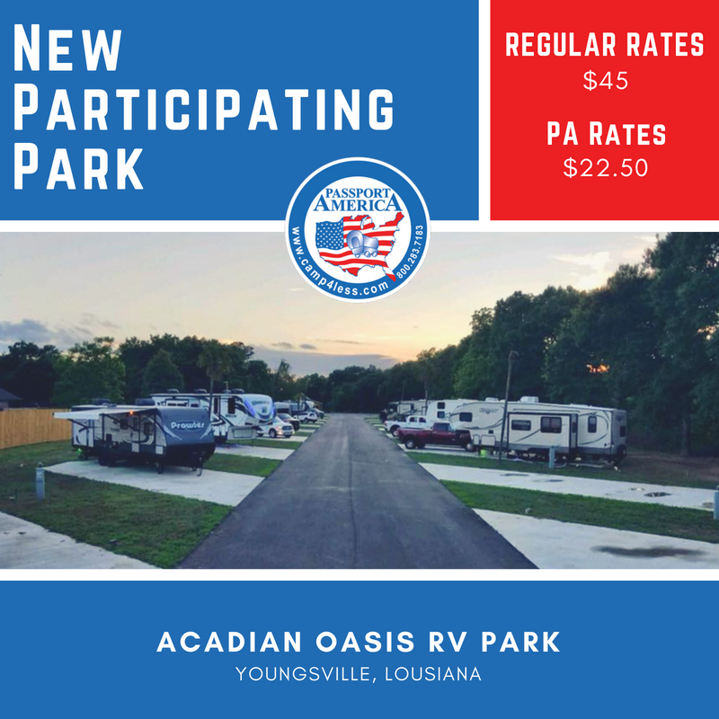 Acadian Oasis RV Park (Youngsville, Louisiana) offers a