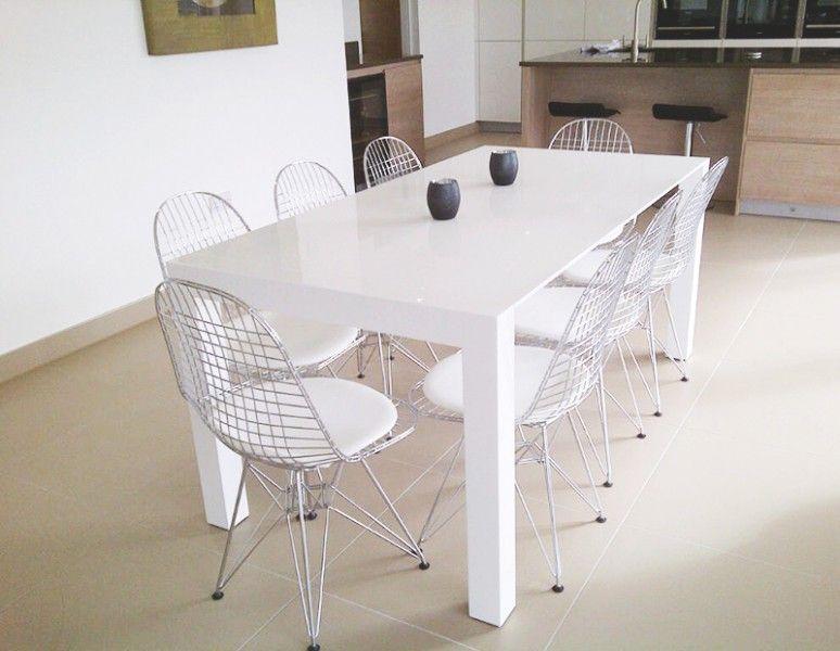 Bramante White Gloss Extending Dining Table Made