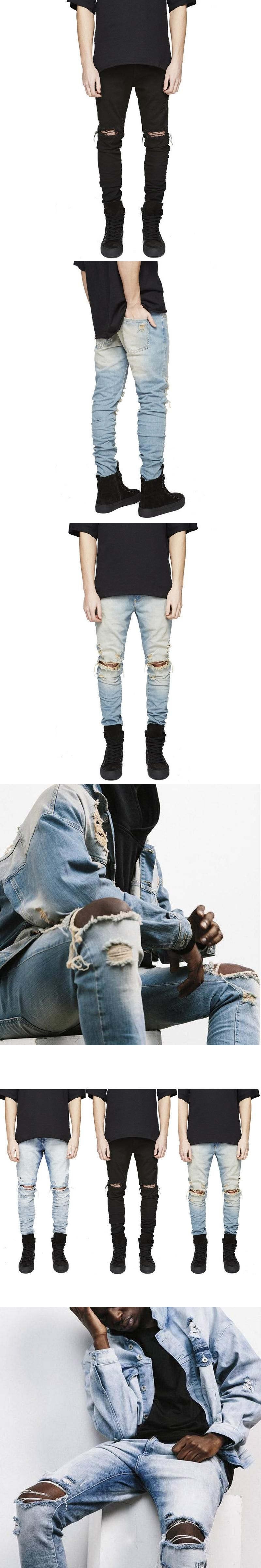 2017 New Mens Hip Hop Ripped Skinny Black Jeans With Holes the Knee Distressed Denim Joggers fear of god Skinny Pants m61