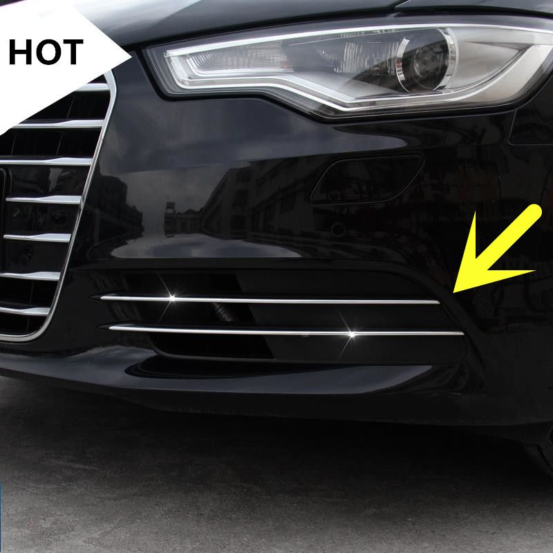 Exterior Front Fog Light Lamp Cover Trim For Audi A6 C7 2012 2015 4pcs Lamp Cover Audi Interior Accessories
