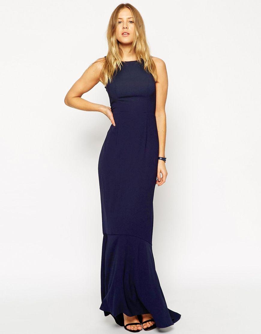 7d30b5f0daa Navy Blue Long Fishtail Bridesmaid Dress (photo  ASOS). Long   Short Bridesmaid  dresses (and jumpsuits) in colors perfect for any fall winter wedding (and  ...