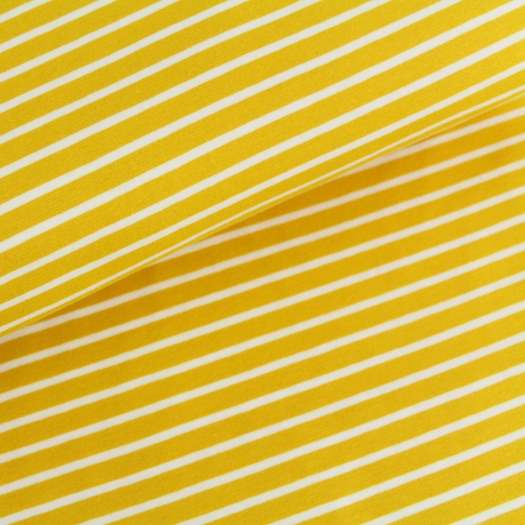 ba6cef65def Organic Jersey Fabric - Mustard with White Stripes | Dressmaking ...