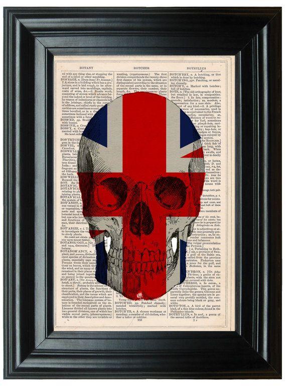 Union Jack British Schädel Anatomie Wörterbuch von PeregrinVintage ...