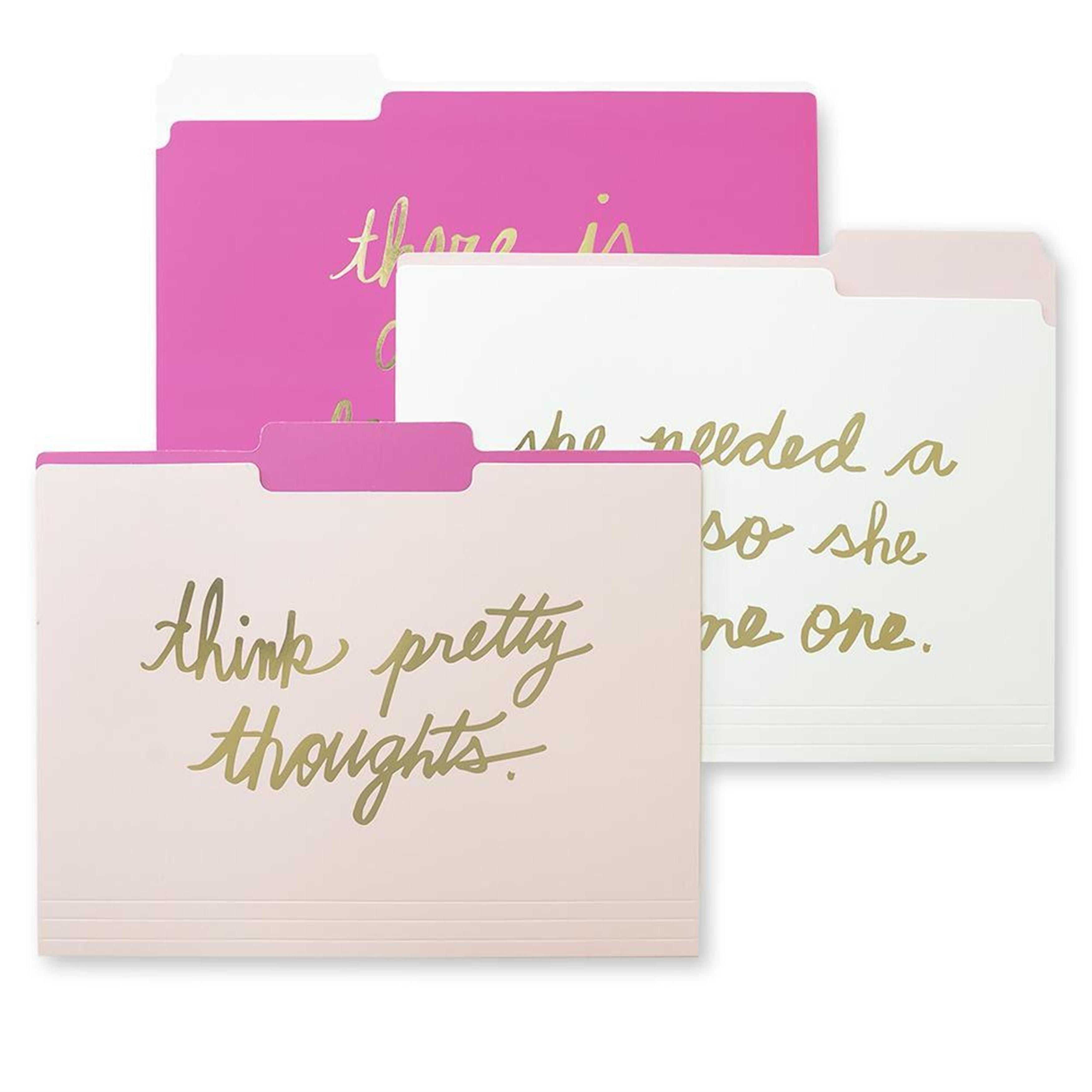Pink & Gold Foil File Folders- 9 CT