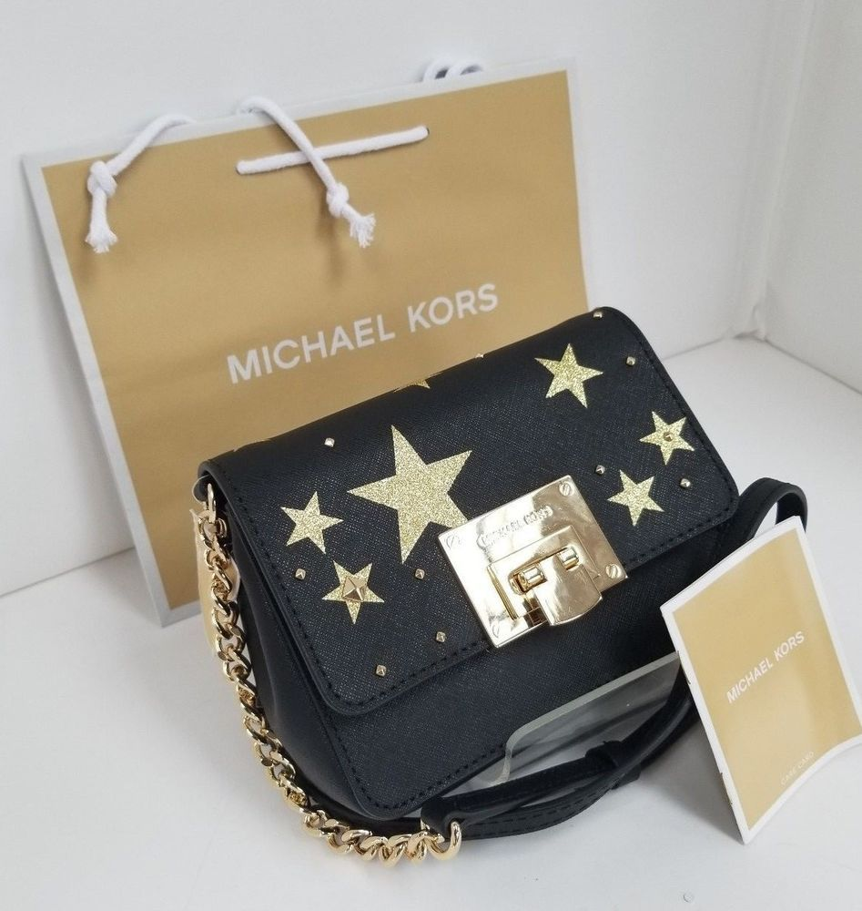 4bbd01b8cfb9 MICHAEL Kors Tina SM Clutch Crossbody Illustrations Color Black W/ Gold  Star #MichaelKors #Crossbody