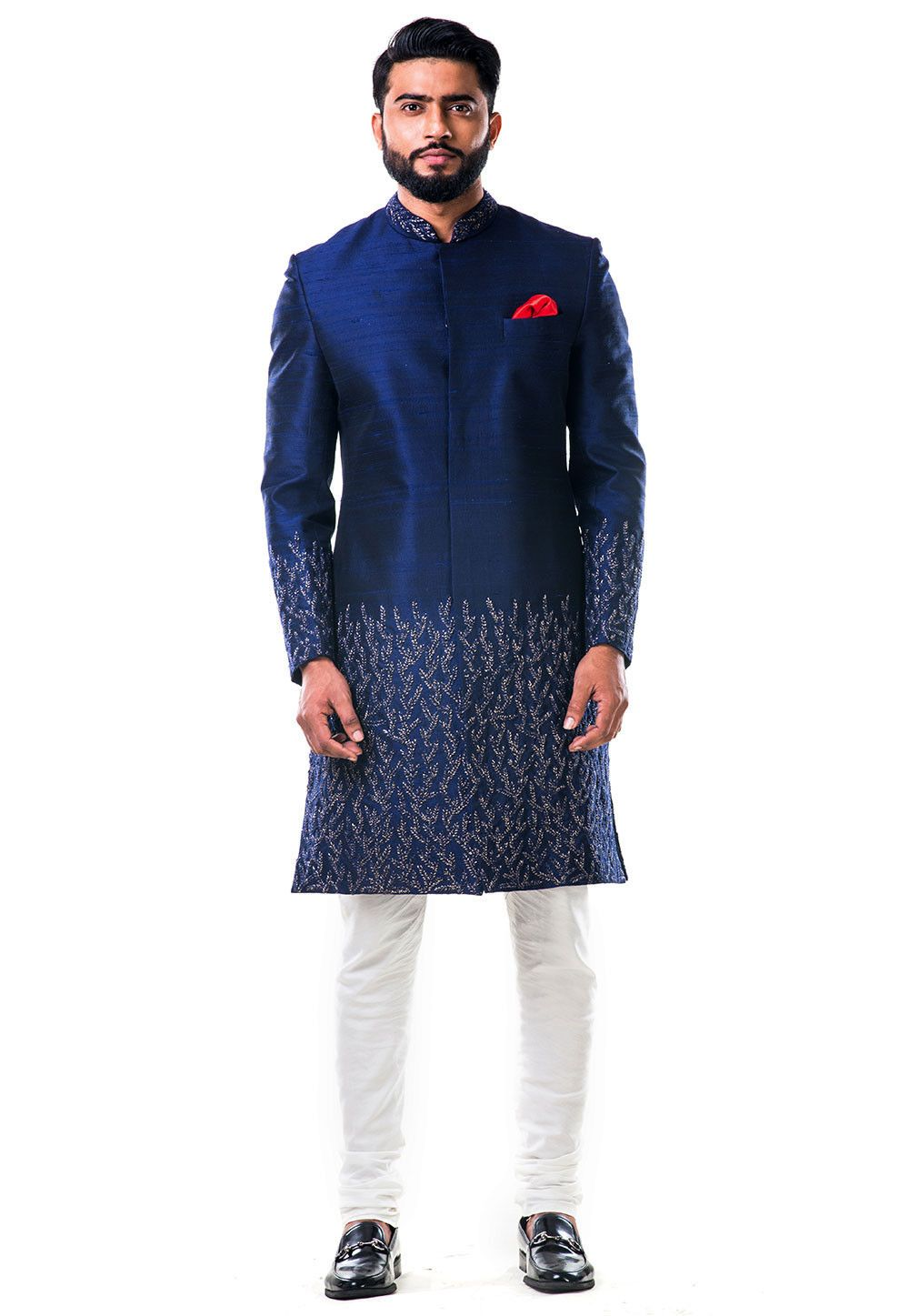 Buy embroidered raw silk sherwani in dark blue online item code