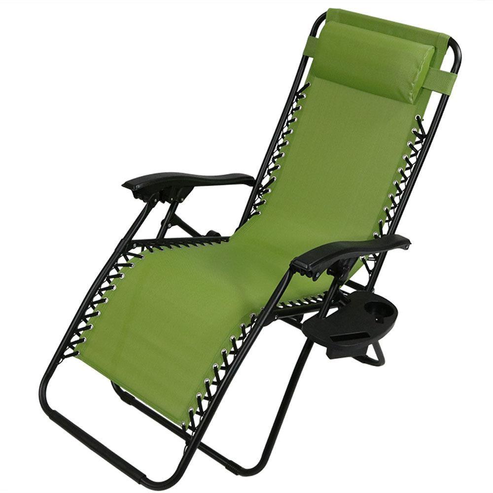 Sunnydaze Decor Zero Gravity Green Sling Lawn Chair with