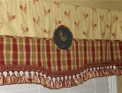 Custom Red Gold French Country Toile Black Rooster Valance Curtain Plaid Trim Valance Toile