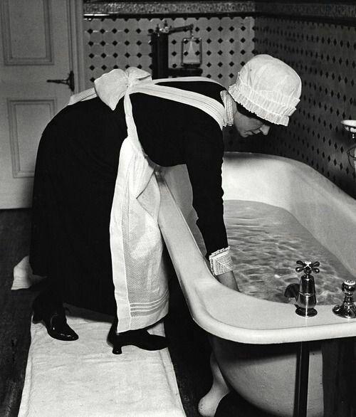 Modern Tea Room Waitress In Black White Uniform