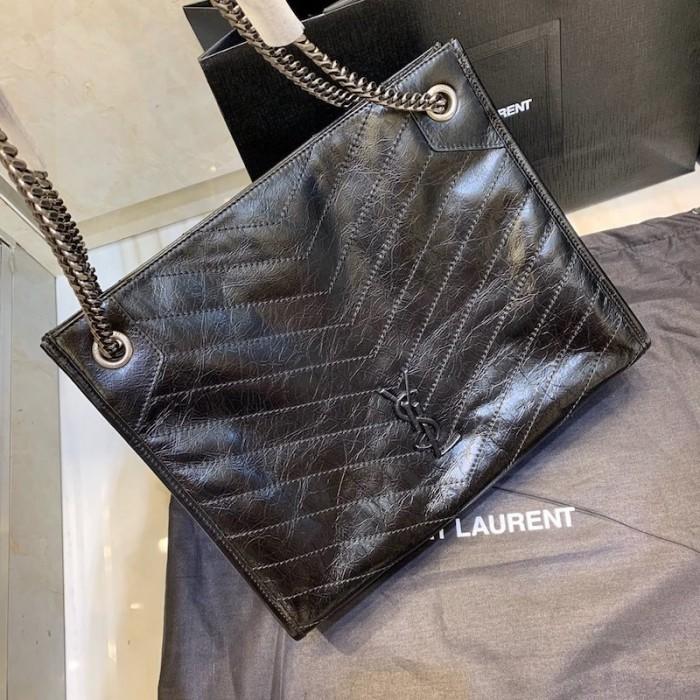 Ysl Niki Medium Shopping Bag In Crinkled Vintage Leather Black In 2020 Vintage Leather Black Tote Bag Bags