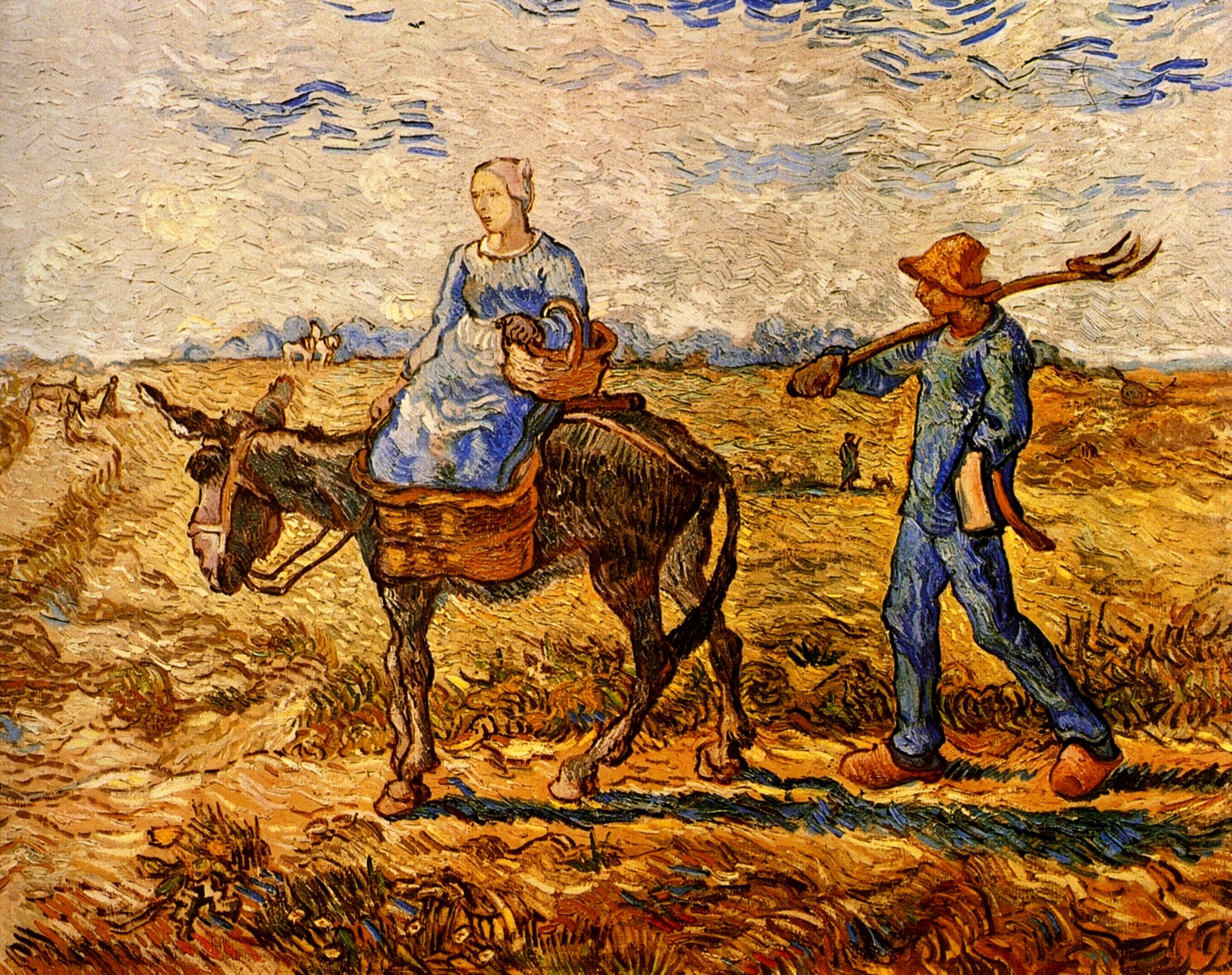 Fauvismo Pintura Morning Peasant Couple Going To Work After Jean Francois
