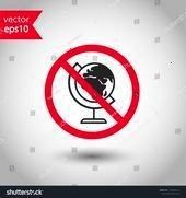 globe icon Prohibited earth vector icon No globe icon Warning caut Forbidden globe icon Prohibited earth vector icon No globe icon Warning caution attention restriction d...