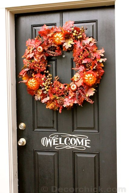 How To Make An Easy Wreath Fall Front Door Wreath | Decorchick! Changing her world one project at a time & How To Make An Easy Wreath Fall Front Door Wreath | Decorchick ...