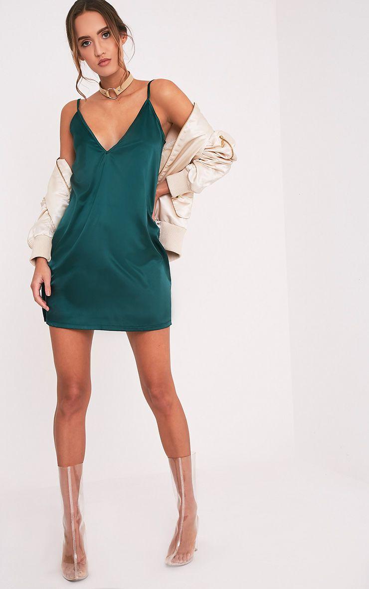 Erin Emerald Green Plunge Satin Slip Dress Dresses Prettylittlething Us