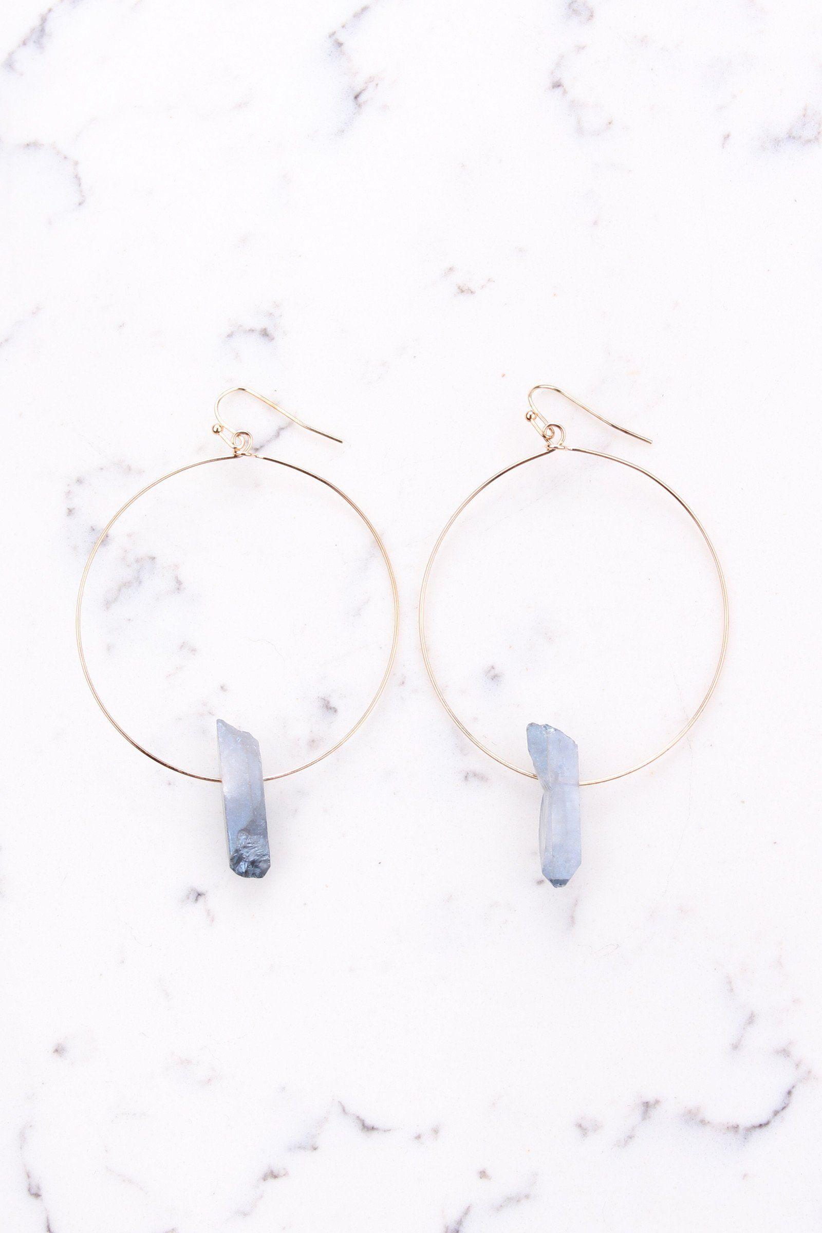 Farrah Hoop Earring | Quartz stone, Gold wire and Smoky quartz
