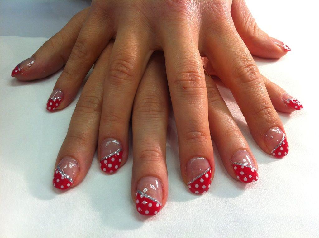 Kawai White Polkadots In Red Half Natural Nail Design With Shellac ...