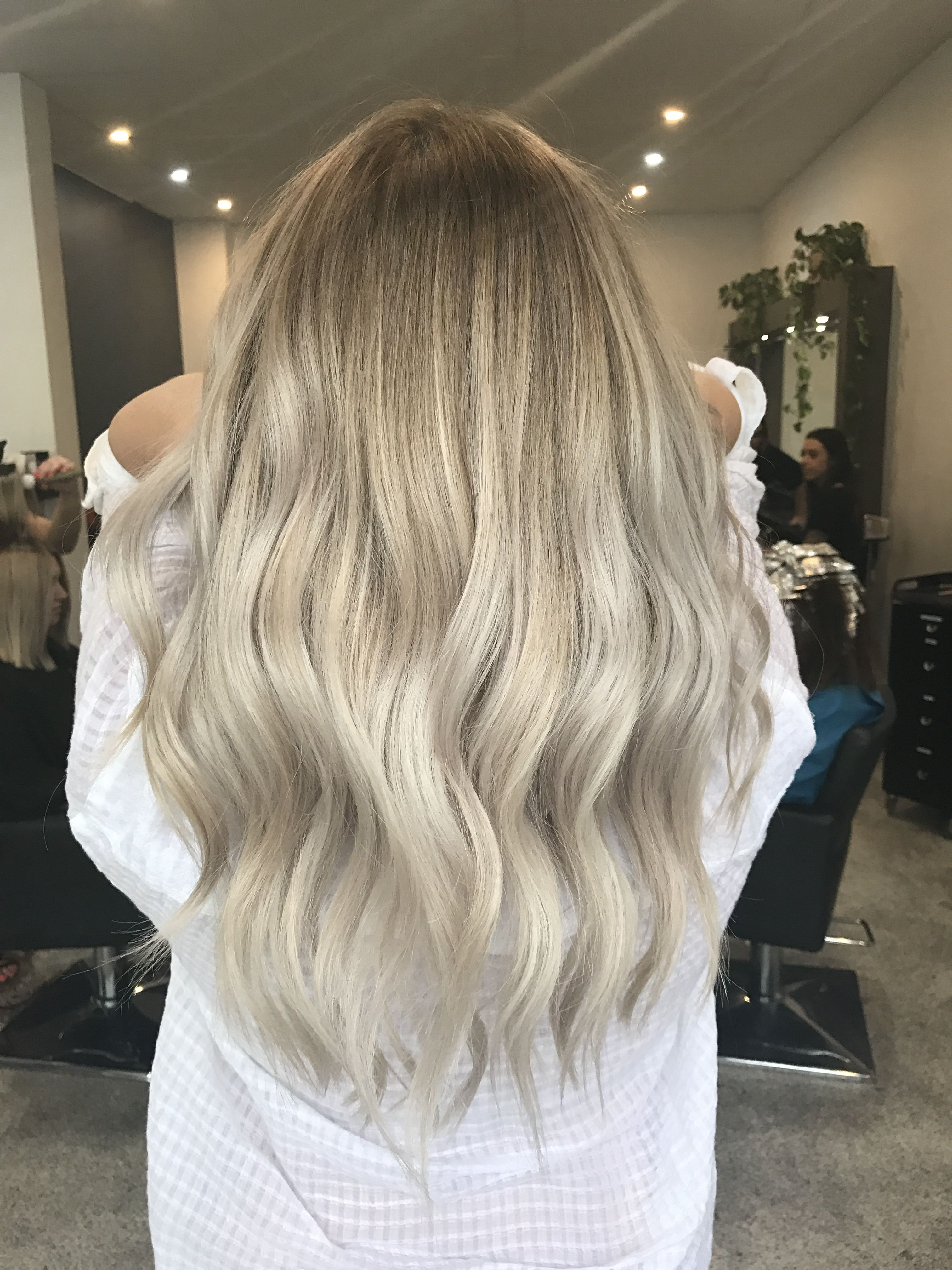 Cool Ash Blonde Balayage Long Hair Curls With Images Ash