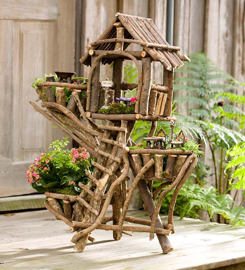 Edible Landscaping And Fairy Gardens: Woodland Fairy Treehouse Planter