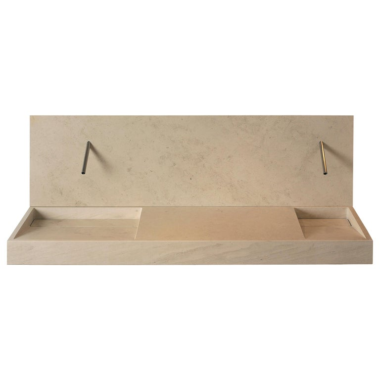 Caved Slope Sink In Natural Stone Customizable By Pibamarmi