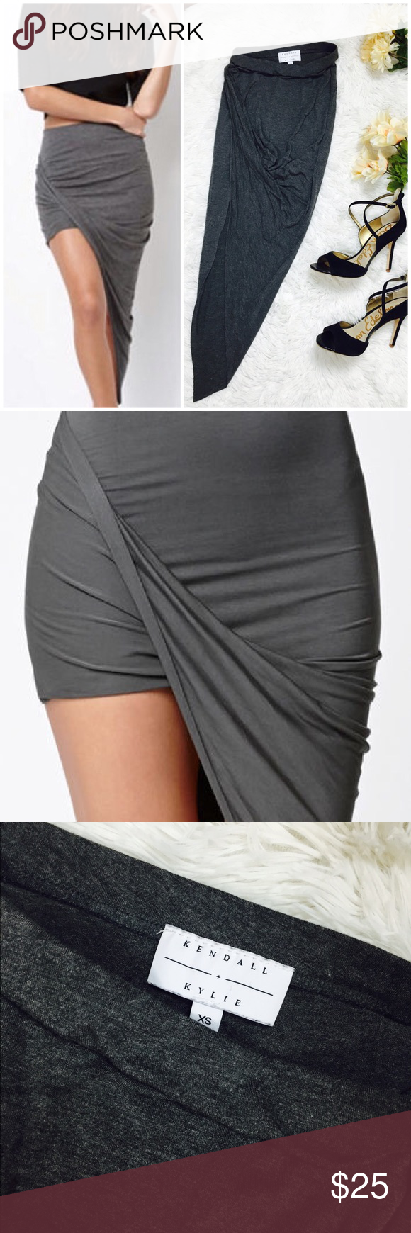 Grey Asymmetrical Draped Skirt Size XS Kendall + Kylie grey draped skirt. High thigh with drape on opposite side. Stretchy waist. 24-25 waist. Preowned in good condition. Kendall & Kylie Skirts