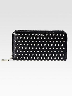 02c2260fe4fa Prada Studded Saffiano Zip-Around Wallet | Wallet | Wallet, Zip ...