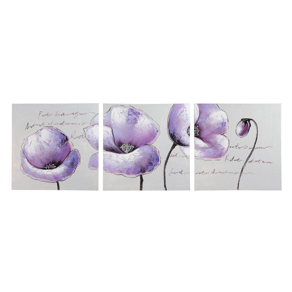 Triptyque fleurs Purple