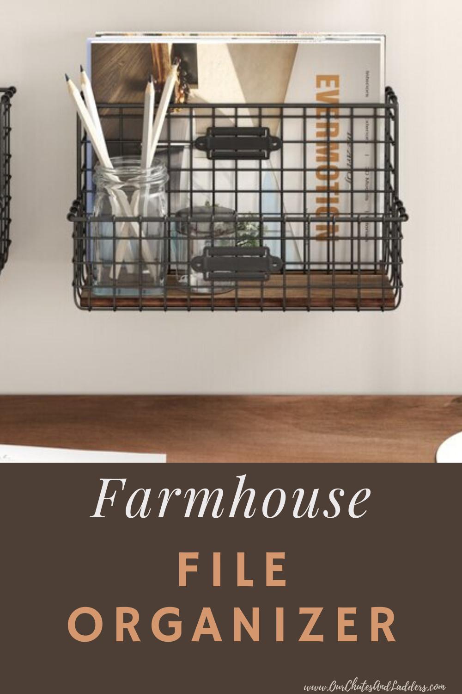 Farmhouse File Organizer Basket in 2020 File organiser
