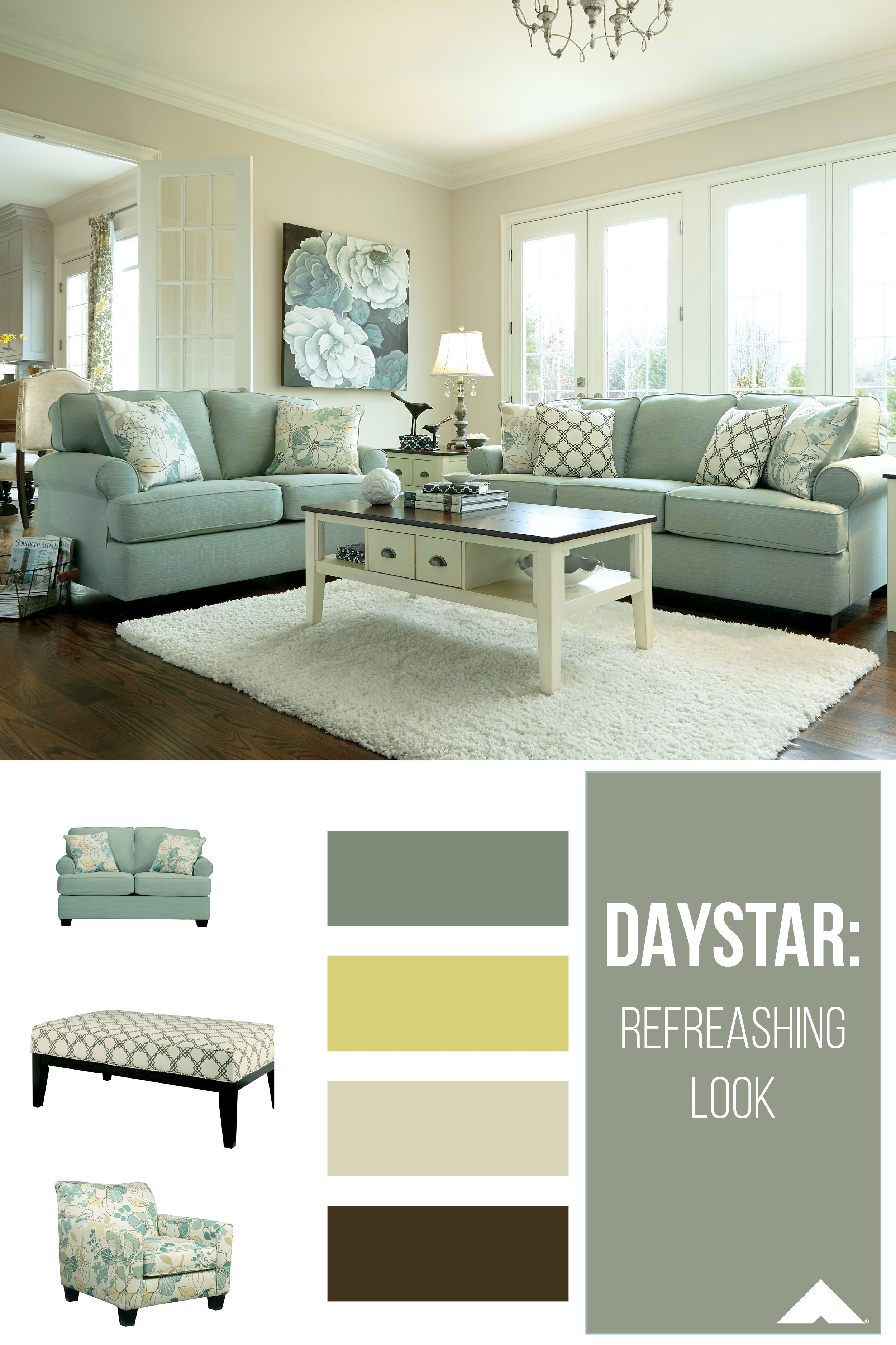 Daystar Seafoam Loveseat Sofa Accent Chair And Oversized Accent