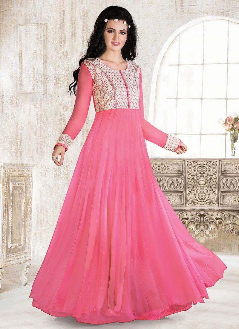 Pink Georgette Gown | Anarkali Dress | Pinterest
