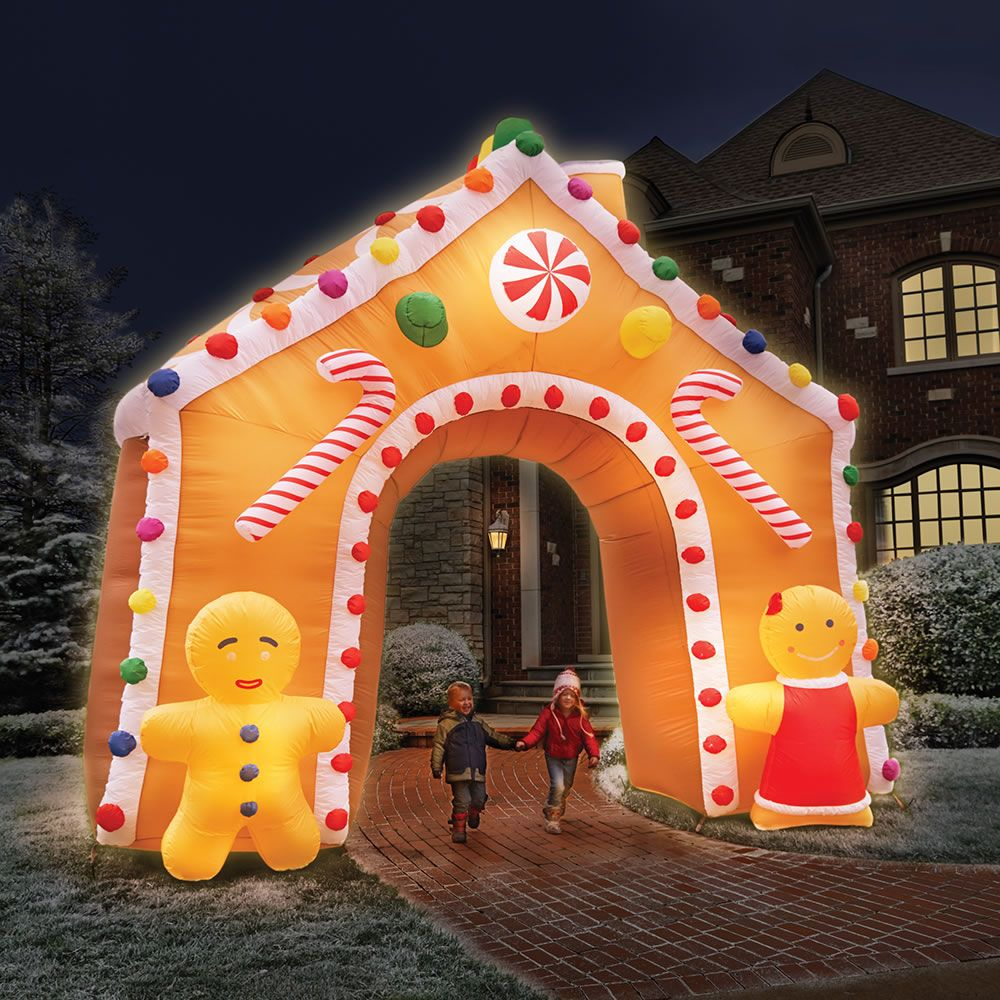 Lighted christmas duck outdoor yard decor - The 15 Foot Illuminated Gingerbread House This Is The 15 Tall Inflatable Gingerbread Outdoor Decorationshouse Decorationschristmas