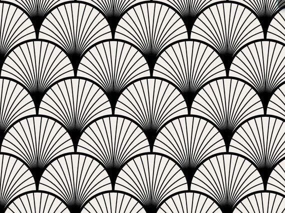 Seigaiha Noir Papier Peint Adhesif Repositionnable Tendance