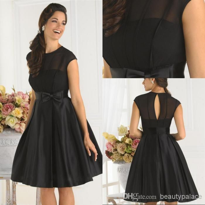 Simple Cheap Black Cocktail Dress A Line Jewel Cap Sleeves