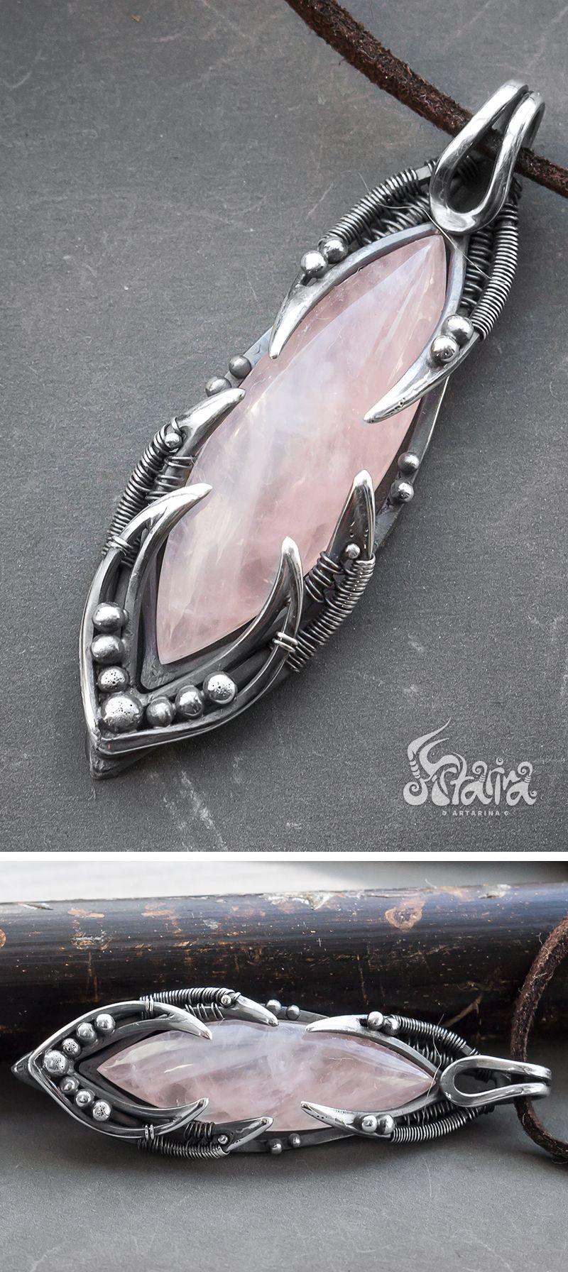 Rose quartz silver pendant // Rose quartz wire wrapped sterling ...