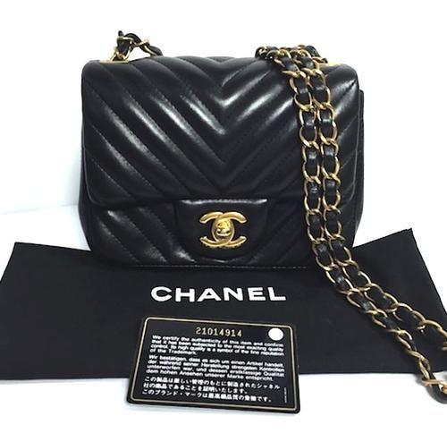 16b1286331ba Chanel Chevron Black Calfskin Square Mini 2.55 Flap Bag | Crossbody ...