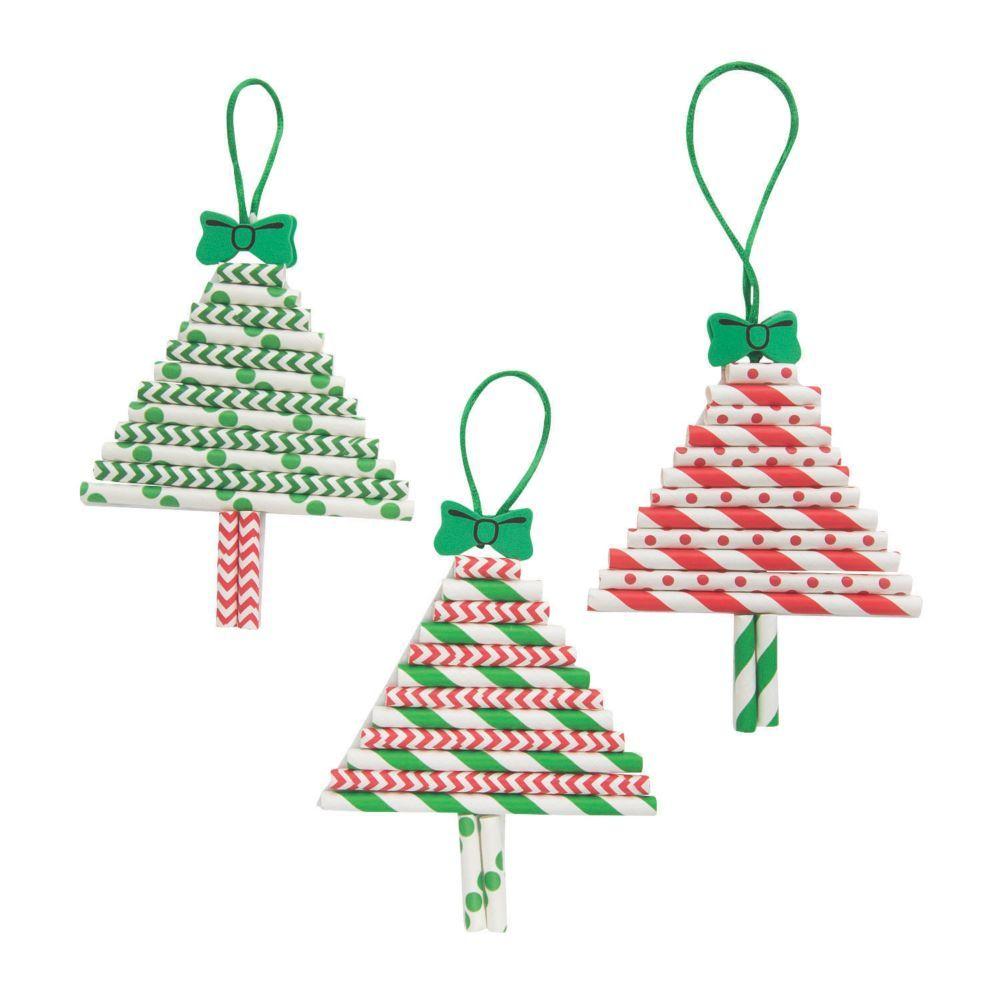 Paper Straw Christmas Tree Ornament Craft Kit Oriental Trading In 2020 Christmas Tree Ornament Crafts Christmas Ornament Crafts Kids Christmas Ornaments