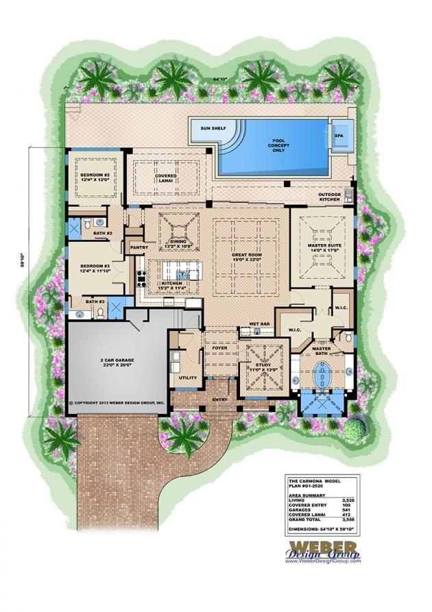 Tropical Home Plan Coastal House Plans Pool House Plans House Plans One Story