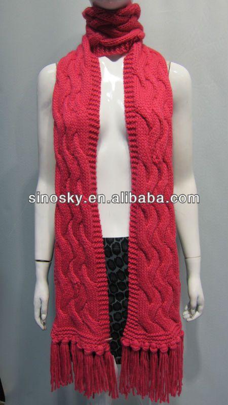 Winter Pink Fashion Fancy Scarf Knitting Patterns With Beautiful
