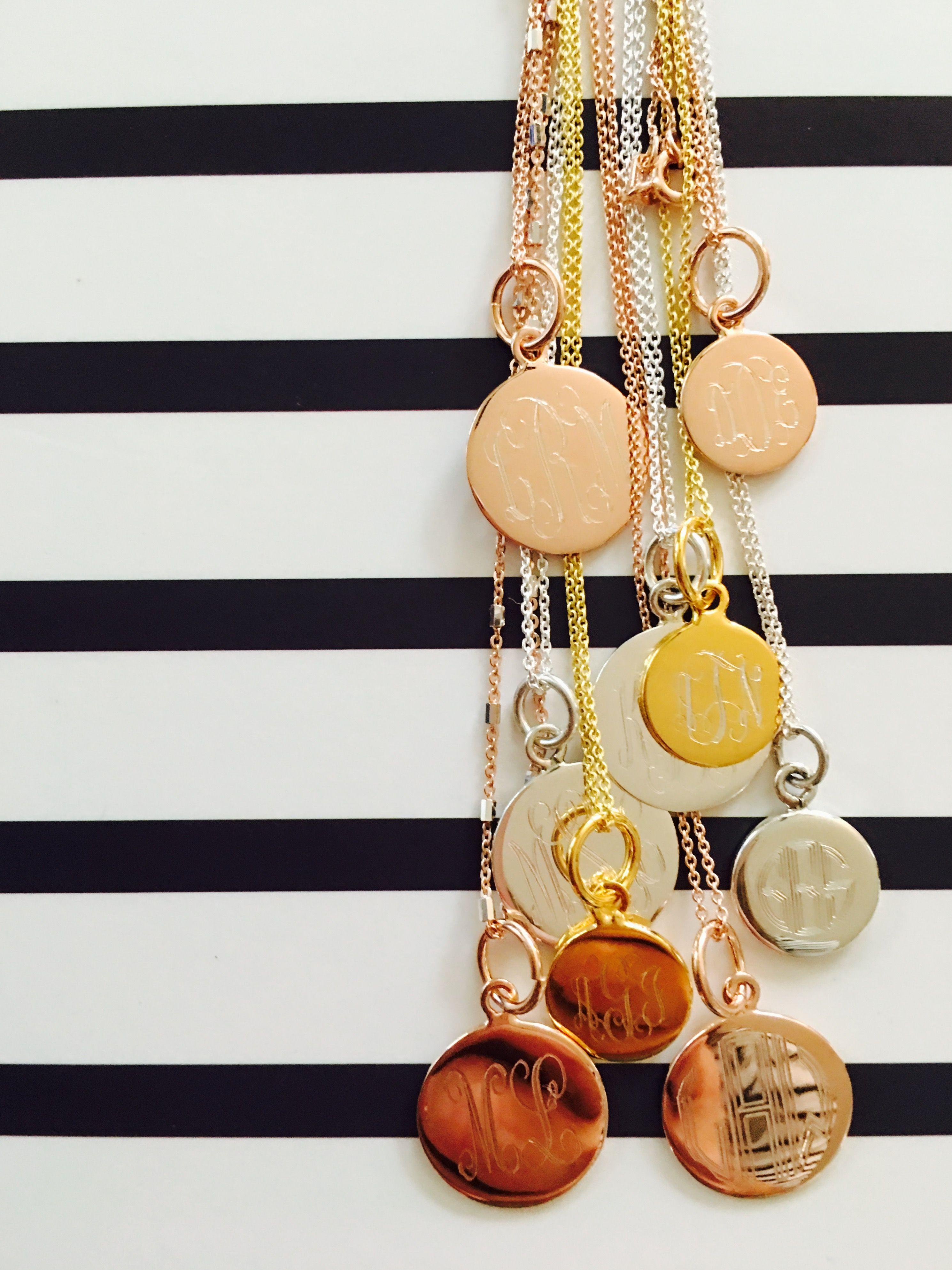 960d0e569 Swell Caroline Flutter Monogram Necklaces in gold, rose gold and sterling  silver... pairs well with stripes!