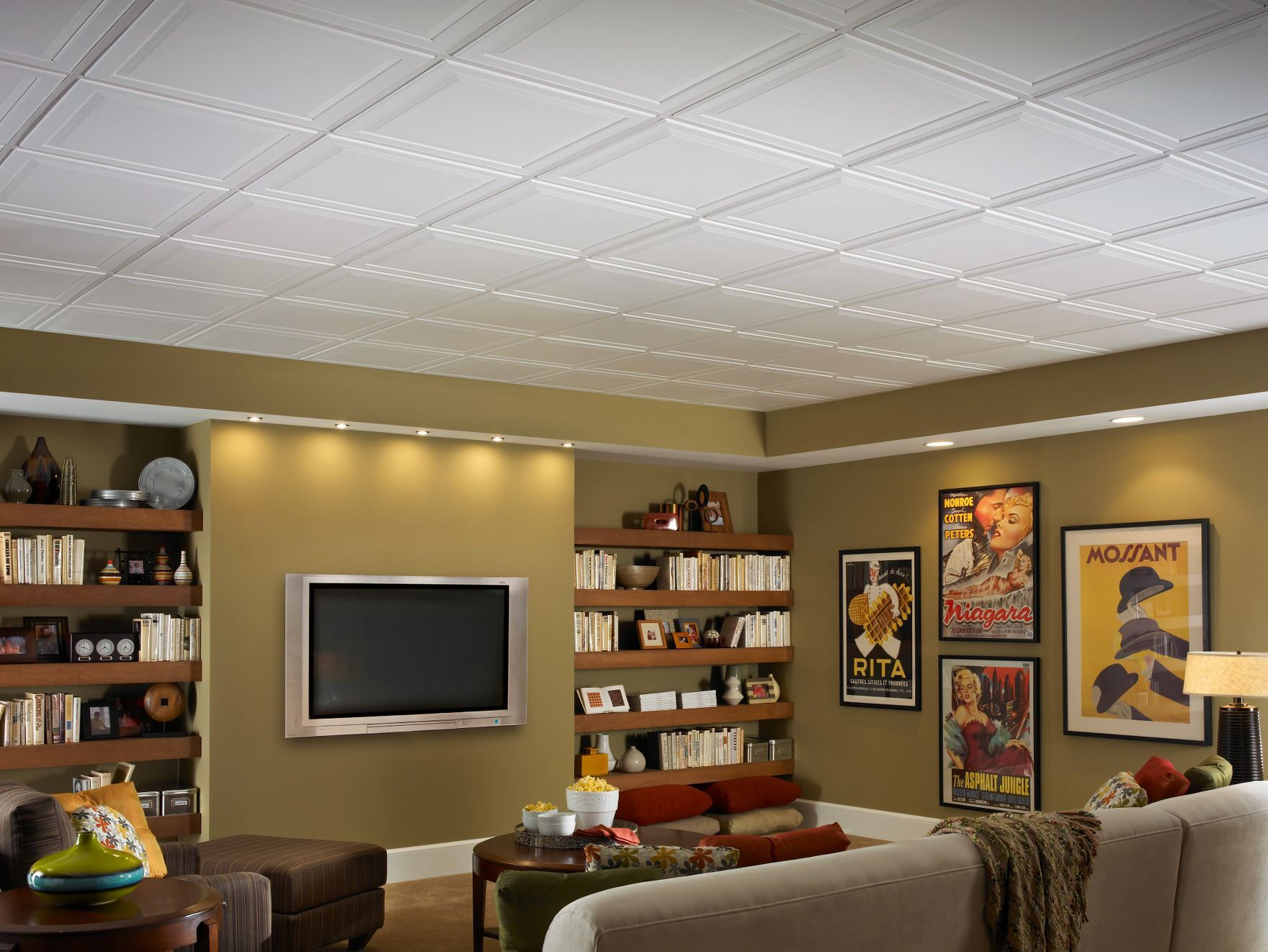 Armstrong ceiling and walls for your basement drop panel single 0949266231c50ffd9ca3c2cb2d3bcec1g dailygadgetfo Image collections