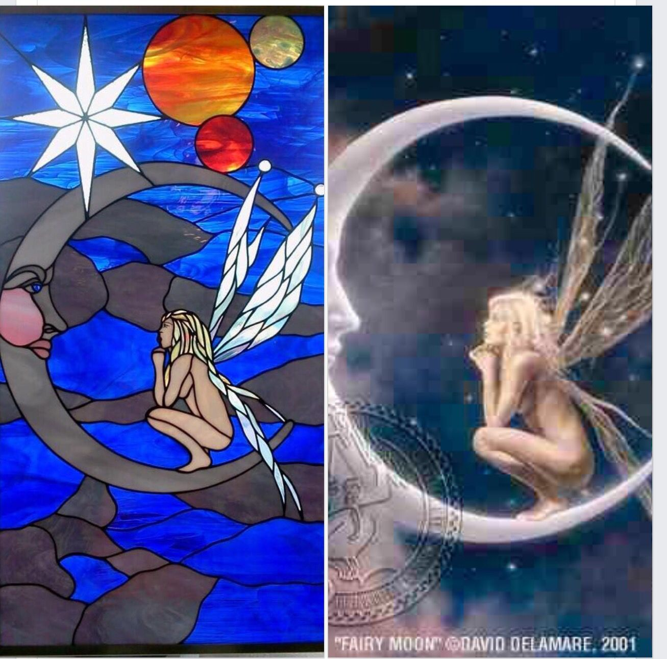 J&M Stained Glass, North Myrtle Beach SC Fairy on moon commission. Based on the accompanying photo.