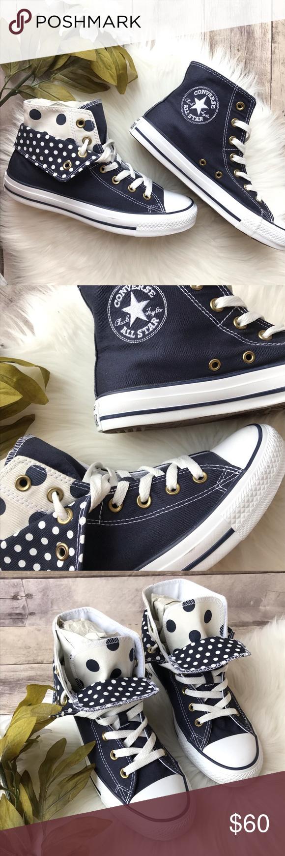 Converse double tongue navy polka dot high tops Brand