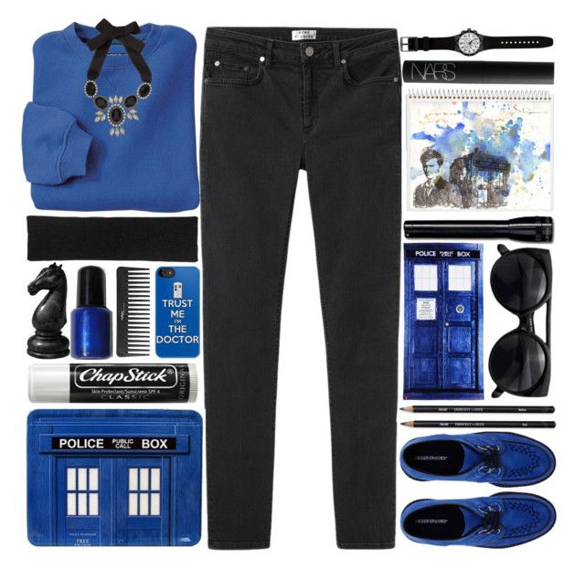 """""""Doctor Who - Tardis Blue"""" by sarahkatewest ❤ liked on Polyvore featuring Underground, Acne Studios, Swatch, Zadig & Voltaire, Five Star, NARS Cosmetics, Sephora Collection, Monsoon and Chapstick"""