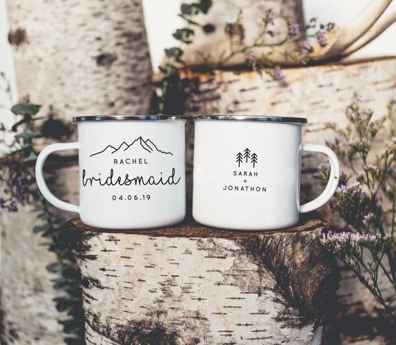Bridesmaid Mugs Camping Mugs Bridesmaid Gift Camp Mugs Mountain Wedding // ONE Mug | Bridesmaid mug, Wedding mugs, Bridesmaid proposal gifts