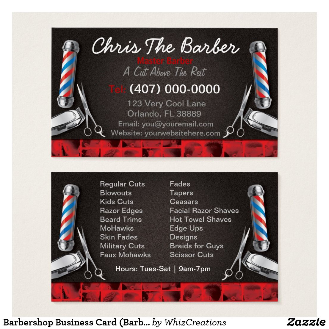 Business Card (Barber pole and clippers