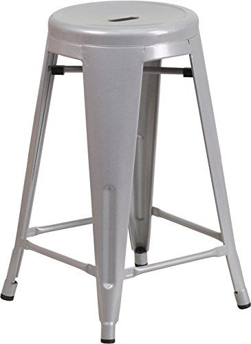 Flash Furniture 24 High Backless Silver Metal Indoor Outdoor Counter Height Stool With