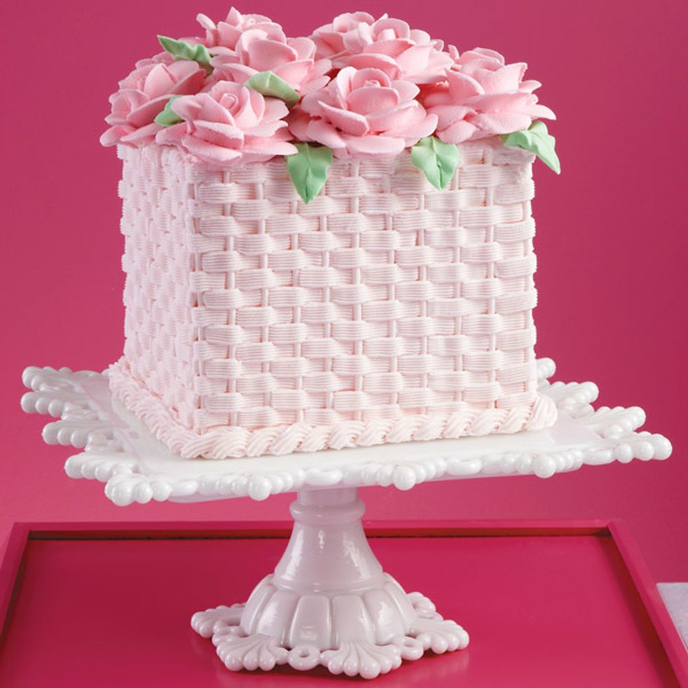 Basketweave Heights and Roses Cake | Cake, Cake designs and Amazing ...