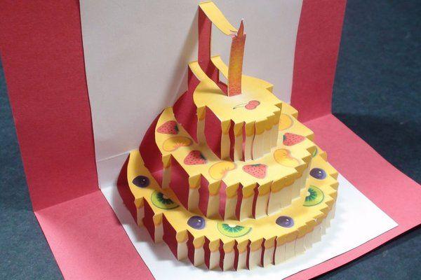 Birthday Cake Pop Up Card (Happy Birthday Kirigami ...