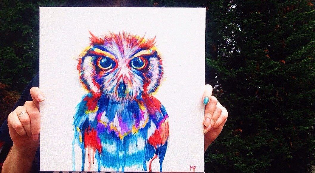 Colorful Owl drip painting by MeganPadovanoDesign on Etsy https://www.etsy.com/listing/239034769/colorful-owl-drip-painting